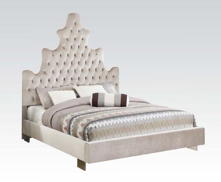 Honesty Collection 25027EK King Size Bed with Crystal Like Button Tufted  Low Profile Footboard  Acrylic Legs and Plush Fabric Upholstery in Sand Plush