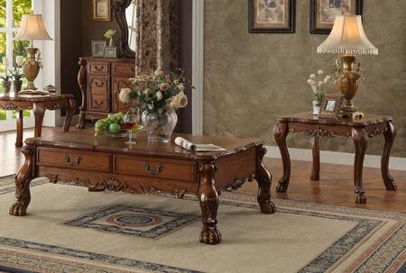 Dresden 82095C2E 3 PC Living Room Table Set with Coffee Table + 2 End Tables in Cherry Oak