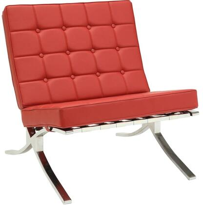 Elian Collection 96377 30 inch  Accent Chair with  inch X inch  Style Chromed Metal Leg  Button Tufted Cushions  Metal Frame and PU Leather Upholstery in Red