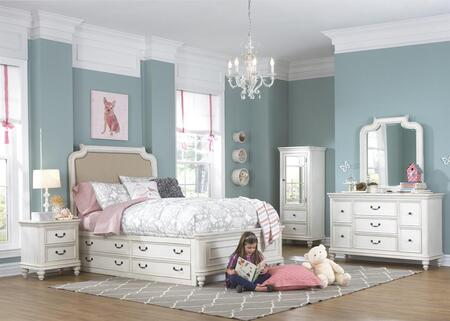 Madison 88904015325336pc 6 Pc Bedroom Set With Full Size Bed + Dresser + Mirror + Wardrobe + Nightstand + Underbed Storage Drawers In White