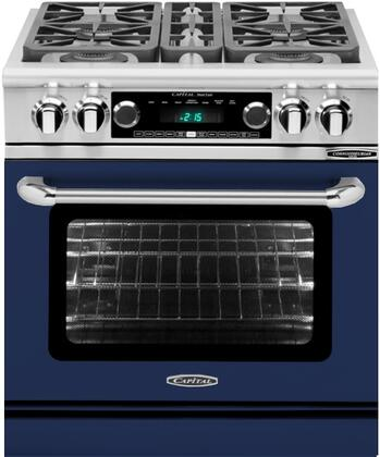 CSB304DN 30 inch  Connoisseurian Series Natural Gas Dual Fuel Range with 4 Sealed Burners  Moto-Rotis  Meat Probe and Flex-Roll Oven Racks  in Cobalt