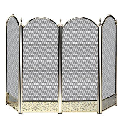 S-4645 4 Panel Antique Brass Screen with