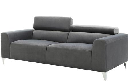 G333-s 79 Sofa With Chrome Legs  Adjustable Headrest  Track Arms  Split Back Cushion And Soft Velvet Like Micro Suede Cover In Grey