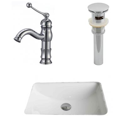 AI-13266 20.75-in. Width x 14.35-in. Diameter CUPC Rectangle Undermount Sink Set In White With Single Hole CUPC Faucet And