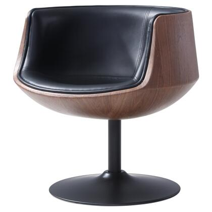 Conan Collection 6300039-273 PU Swivel Chair with 360 Degree Swivel and Dark Walnut Frame in Monaco