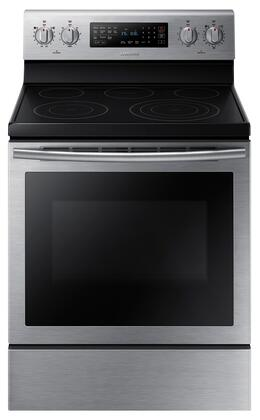 "NE59J7630SS 30"" 5.9 cu. ft. Freestanding Electric Range with  5 Smooth Top Electric Elements  Storage Drawer  True Convection Oven  Steamquick and Hot Surface"