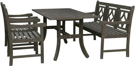 Renaissance Collection V1300SET18 Outdoor Patio Dining Set with Rectangular Shaped Dining Table  Bench and 2 Patio Armchairs in Vista Grey