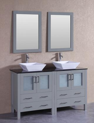 AGR230SQBG 60 inch  Double Vanity with Black Tempered Glass Top  Flared Square White Ceramic Vessel Sink  F-S02 Faucet  Mirror  4 Doors and 4 Drawers in