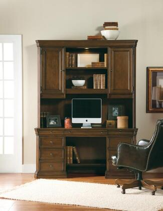 Cherry Creek Collection 258-10-464-467 Two-Piece Desk Set with Computer Credenza and Hutch in Distressed Medium Brown
