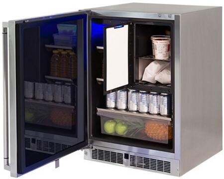 LM24REFCL 24 inch  Professional Series Outdoor Compact Refrigerator with Freezer  4.9 cu. ft. Total Capacity  Blue LED Lighting and Door Alarm  in Stainless Steel