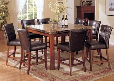 Bologna 07380T8C 9 PC Bar Table Set with Counter Height Table + 8 Counter Height Chairs in Brown Cherry