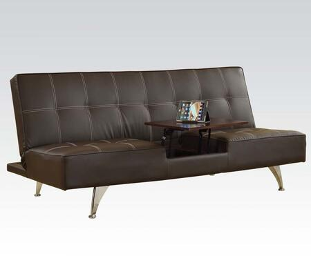 Derby Collection 57129 71 inch  Adjustable Sofa with Hidden Table  Chrome Legs  Jumbo Stitching and PU Leather Upholstery in Brown