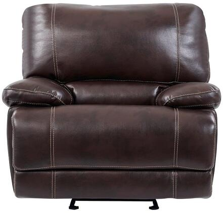 U1953-AGNES-COFFE-GR 43 inch  Glider Recliner with Plush Padded Arms  Split Back Cushion  Stitched Detailing in Agnes