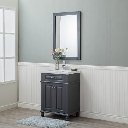 HE-104OL-24-G-CTSF Lancaster 24 in. Single Bathroom Vanity in Gray with Porcelain Top (Single