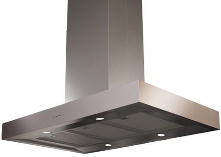 "ZRM-E42CS 42"" Essentials Europa Series Roma Island Mount Chimney Range Hood with 600 CFM Internal Blower  ACT Internal Blower  ICON Touch Controls  Dual Level"
