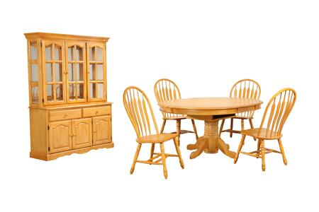 Sunset Oak Selections Collection DLU-TBX4866-4130-22BHLO7PC 7-Piece Dining Room Set with Pedestal Dining Table  4x Side Chairs and China Cabinet in Light Oak