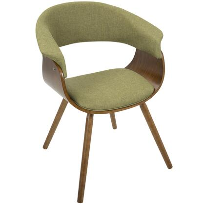 CH-VMO WL+GN Vintage Mod Mid-Century Modern Chair in Walnut and