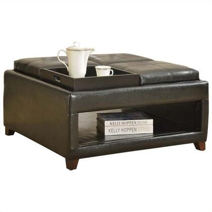 Gosse 96173 35 inch  Ottoman with 4 Trays  Bottom Shelf  Tapered Legs and PU Leather Upholstery in Dark