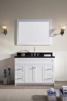 F049SABWHT Ariel Hamlet 49 inch  Single Sink Vanity Set with Absolute Black Granite  Two Doors and Four Drawers in Absolute Black Granite