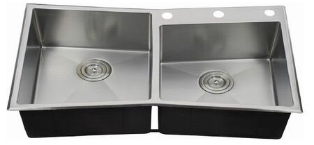 LIX-300 Jesolo 33 1/2 inch  Double Bowl Undermount/Drop-in Kitchen Sink with Soundproofing System and Mounting Hardware in Stainless