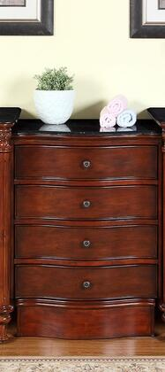 FS-0266-BG-M Leila 24 inch  Drawer Bank with 4 Drawers  Side Roller Glides and Black Galaxy Granite Top in Medium Wood