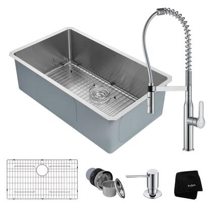 KHU100-32-1650-41CH Kitchen Combo with Handmade Undermount Stainless Steel 32 in. Single Bowl 16 Gauge Kitchen Sink and Nola Commercial Kitchen Faucet with