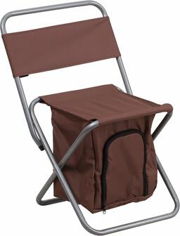 TY1262-BN-EMB-GG Embroidered Folding Camping Chair with Insulated Storage in