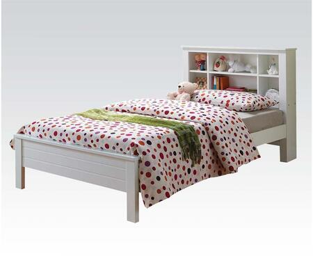 Yara Collection 37058T Twin Size Bed with Wooden Slats  Bookcase Headboard  Solid Wood and PU Veneer Materials in White