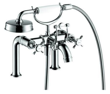 16542001 Axor Montreux Roman Tub Filler Faucet Deck Mounted with Diverter  Metal Cross Handles and Single Function Hand Shower Less Valve: