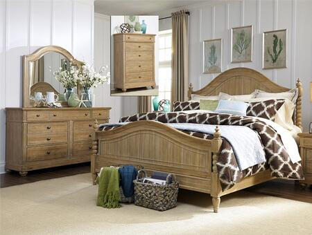 Harbor View Collection 531-BR-QPSDMC 4-Piece Bedroom Set with Queen Poster Bed  Dresser  Mirror and Chest in
