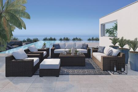 Alta Grande Collection P782-SL2CHOCT2ET 8-Piece Patio Set with Sofa  Loveseat  2x Chairs  Ottoman  Cocktail Table and 2 End Tables in