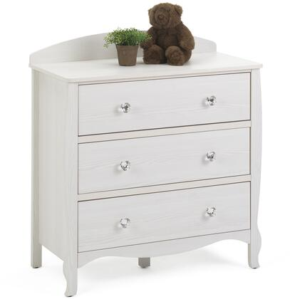 Lindsay Collection 28413 35 inch  Chest with 3 Large Drawers and Decorative Crystal Pull Knobs in Stone White
