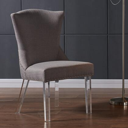LCJACHTA Jade Modern and Contemporary Dining Chair in Taupe Fabric with Nailheads and Acrylic
