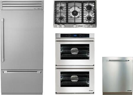 4-Piece Stainless Steel Kitchen Package with DYF36BFTSR 36 inch  Bottom Freezer Refrigerator  RNCT305GSLP 30 inch  Liquid Propane Cooktop  RNWO227FS 27 inch  Electric Double
