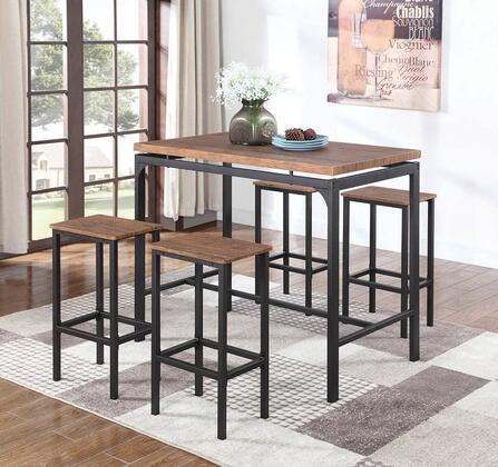 182002 5-Piece Bar Table Set with Bar Table and 4 Bar Stools in Weathered Chestnut and