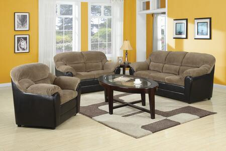Connell Collection 15945SLCT 6 PC Living Room Set with Sofa + Loveseat + Chair + 2 End Tables + Coffee Table in Brown and Espresso