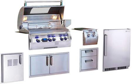 Grill Package with E660I4L1NW Natural Gas Grill  32814 Double Side Burner  53802SC Double Drawer  53934SC Double Door  53820SCTL Single Access Door with