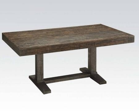 Eliana Collection 71710 72 inch  Dining Table with Trestle Base  Distressed Look  Pine Wood and Veneer Materials in Salvage Brown