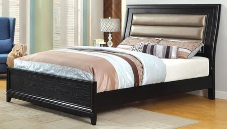 Golva Collection CM7295EK-BED Eastern King Size Bed with Padded Leatherette Headboard  Tapered Legs and Wood Veneers Construction in Black