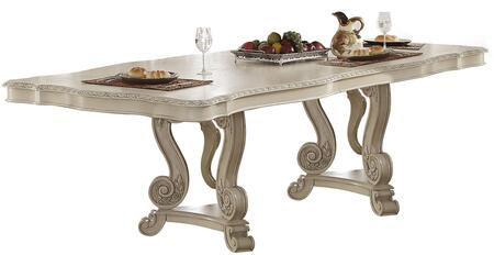Ragenardus Collection 61280 90 inch  - 114 inch  Dining Table with 1 Extendable Leaf  Tri-Pod Double Pedestal  Floral Motifs  Scrolled Apron  Pine Wood and Veneer