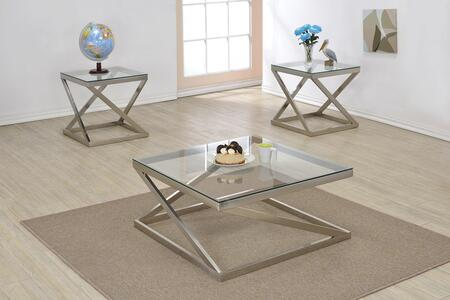 Ollie 81140CE 3 PC Living Room Table Set with Coffee Table + 2 End Tables in Brushed