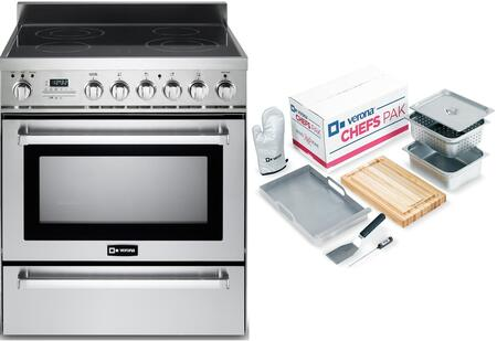 2-Piece Stainless Steel Kitchen Package with VEFSEE304PSS 30 inch  Freestanding Electric Range and Chefs