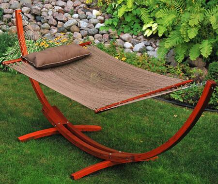 67104914SP 12 Foot Wooden Arc Frame with Brown Caribbean Hammock and Matching Pillow in