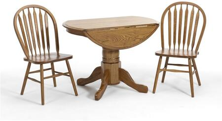 Classic Oak CO-TA-L42247D-CNT-C  Dining Room Laminate Drop Leaf Table and 2 Chairs with  Molding Detail in Chestnut