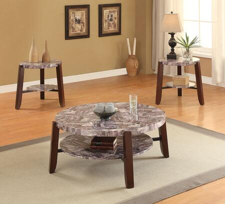 Lilith 80955CE 3 PC Living Room Table Set with Coffee Table + 2 End Tables in Cherry