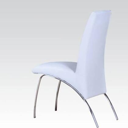 Pervis Collection 71107 19 inch  Side Chair with PU Leather Upholstered Seat and Back and Polished Metal Legs in White