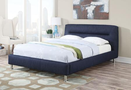 Adney Collection 25070Q Queen Size Bed with Chrome Legs  Panel Headboard and Fabric Upholstery in Blue Denim