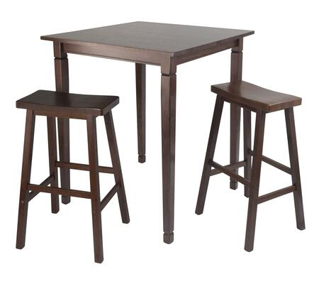 94300 3pc Kingsgate High/Pub Dining Table with 2 Assembled Bar Saddle Seat Stools in Antique Walnut