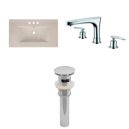 Ai-16604 35.5-in. Width X 19.95-in. Diameter Ceramic Top Set In Biscuit Color With 8-in. O.c. Cupc Faucet And