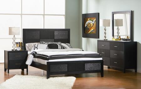 201651kwset4 Grove 4 Pc Cal. King Bedroom Set With Bed  Nightstand  Dresser And Mirror In Black